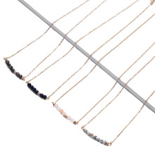 Delicate Morse Code Natural Gemstone Beads Fill Chain Simple Necklace for Gift Birthstone Custom Necklace