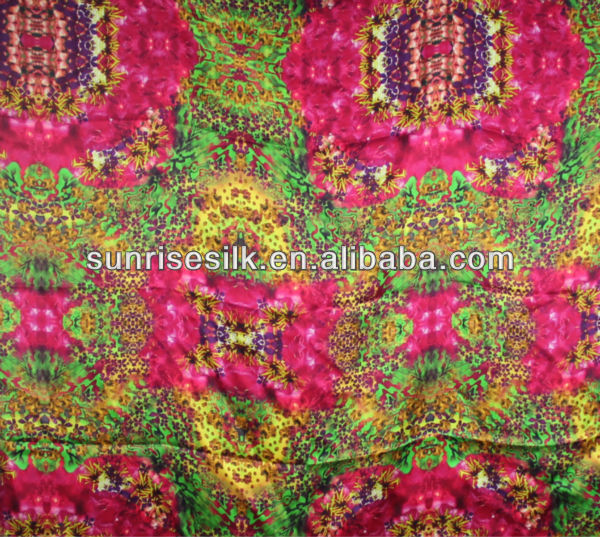 100% silk digital print italian silk fabric