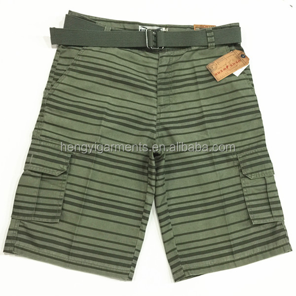 2015 Low Price Mens Stripe Shorts with Belt Surplus Stock