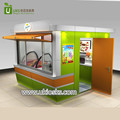 Outdoor fast food mall ice cream kiosk with wooden counter for sale