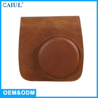 New Hot Sale Fashion Brown Leather Mini8 Shoulder Style Instant Camera Bag