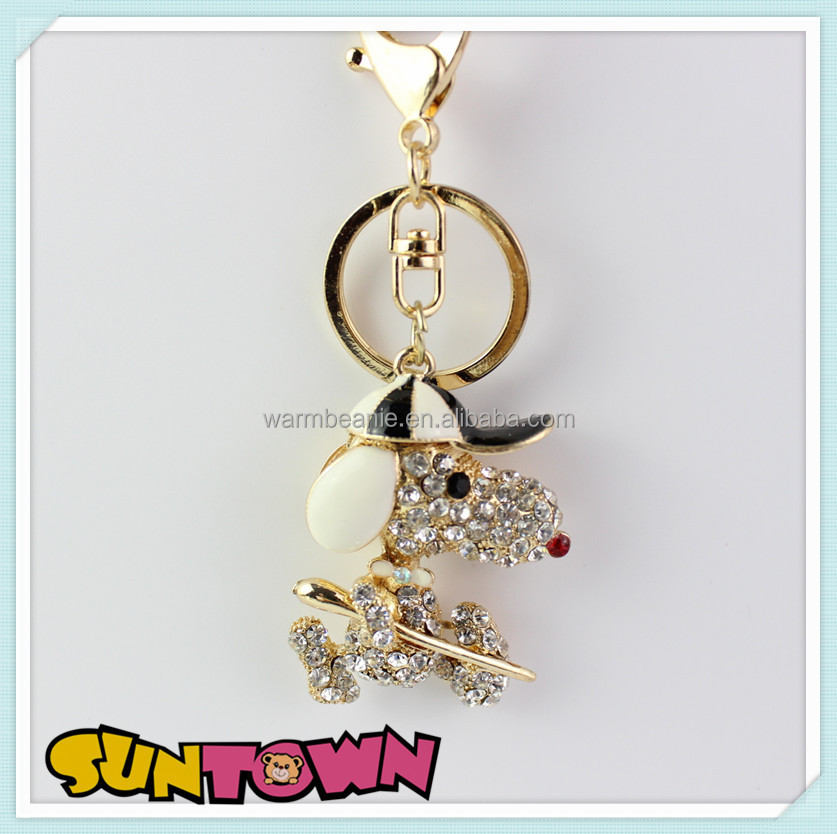 Good quality best selling fashion diamond key chain holder charm,dog keychain