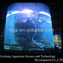 big cylindrical acrylic aquarium