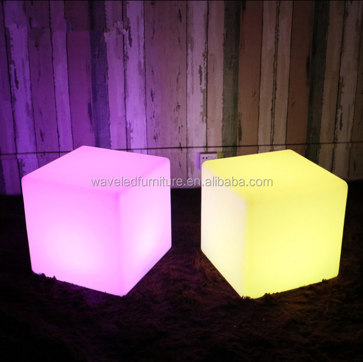 Hot sale LED furniture series LED glowing plastic cube table for outdoor party