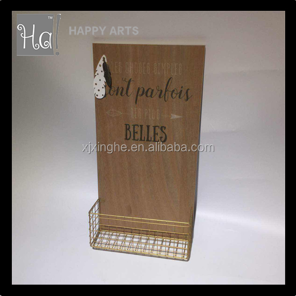 wooden Pattern Carved Metal Mesh letter holder/document tray/file