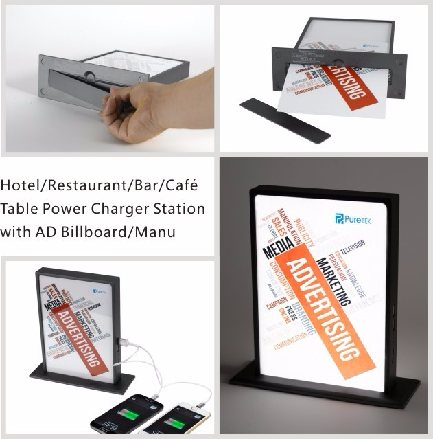 Factory Direct Cafe/ Bar Desktop Power Charger Station with Advertisement Billboard 24000mAh,30000mAh for Samsung Galaxy S6 S6+