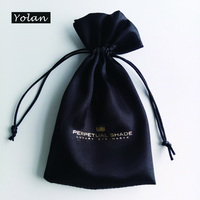 Hot Stamping Satin Jewelry bags, Black Gift Bag with Company Logo