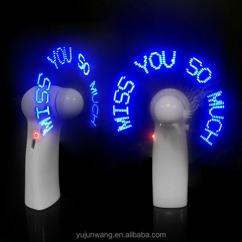 2017 Alibaba Portable Custom Message Mini <strong>Fan</strong> Led