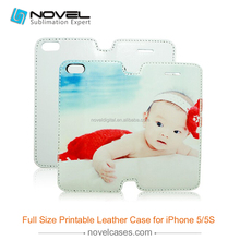 sublimation leather phone case for iphone 5/5s , full size leather phone case