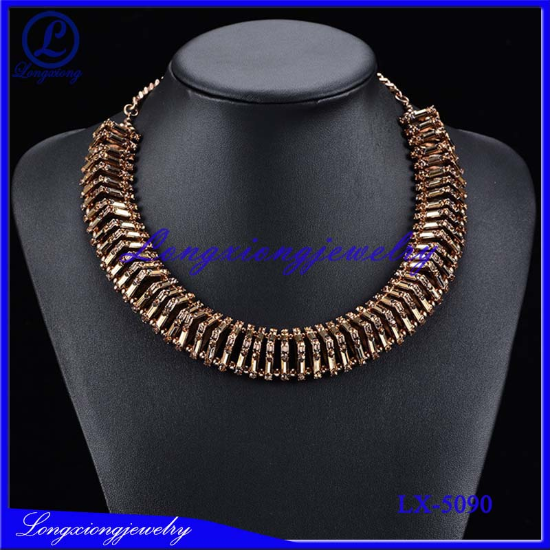 Popular Golden Stone Collar Chunky Necklace