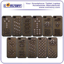 Leather Backing Metal Studs Skull phone case cover for iPhone 5 5S small MOQ acceptable