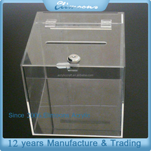 Custom Handmade Acrylic Donation Box With Hinged Lid/ Clear Standing Decorative Money Donation Bin With Lock