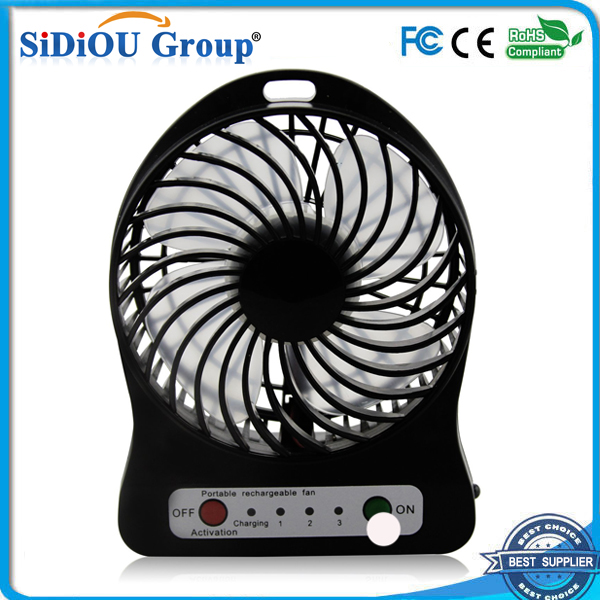 4 Inch 3 Speeds Portable Mini Fan USB Rechargeable Desk Fan Cooling Fan for Notebook Laptop Computer, Indoor and Outdoor Use