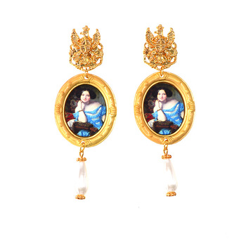 Vintage personality custom photo frame earrings wholesale Baroque pearl earrings women