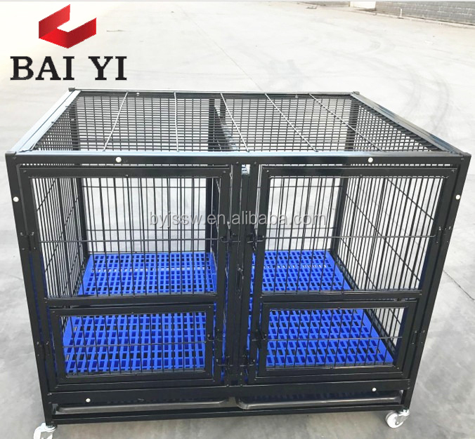 Large Steel Tube Frames Animal Dog Cages With Wheels