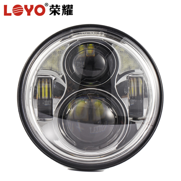 "2017 New 5.75"" Inch 80W Led Headlight with halo angel eyes for harley motorcycle"