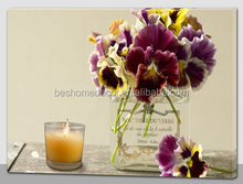 flower candle lighted canvas wall art led canvas picture for home decoration
