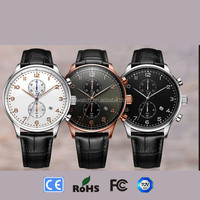 2016 hot sell factory price big dial Newest design luxury multi functions genuine leather charm watches men rose gold