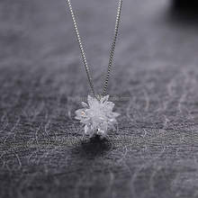best selling christmas items AAAA zircon stereoscopic snowflake pendant box chain silver <strong>necklace</strong> for women