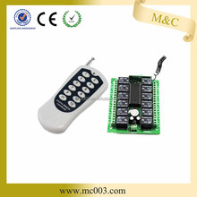 High sensitivity rf 12 channel remote control transmitter receiver 315/433.92 MHz
