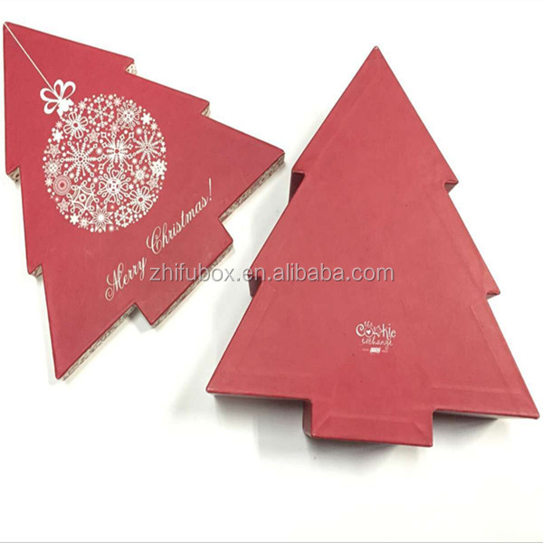 Christmas Tree Shape Gift Box Paper Packaging, Red Paper Hat Box