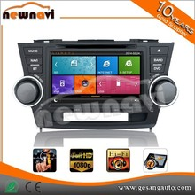 Newnavi 8 inch double din car dvd multimedia for TOYOTA Highlander 2008 with high quality gps, audio, 3g,wifi