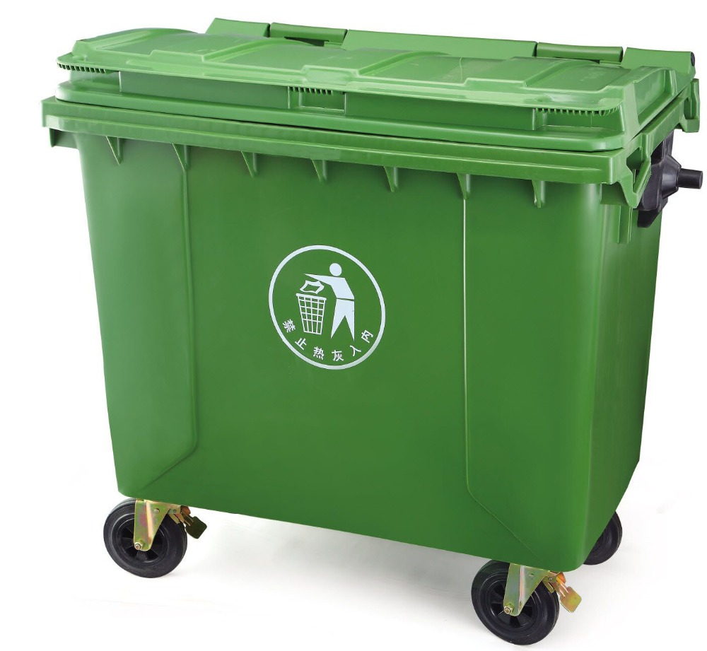 Big Size 1100L Plastic Garbage Bin With 4 wheels