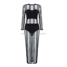 2016 New Black Sequined Mesh Striped Long Sleeve Club Party Dress Sexy Wear