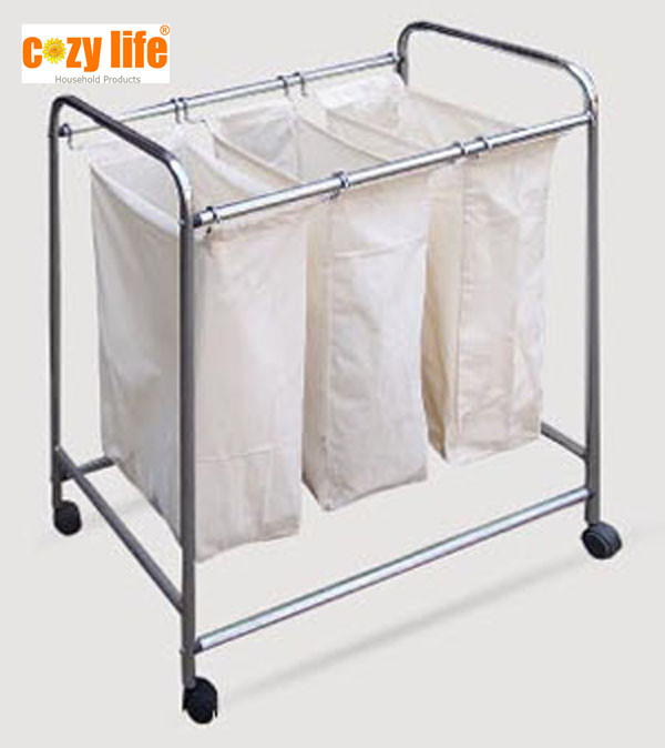 Home or hotel use laundry basket with wheels customized handy metal tubes laundry cart
