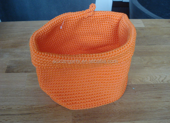 Chinese Supplier Craft Suppy Beautiful Cute Knitted Basket for Storage