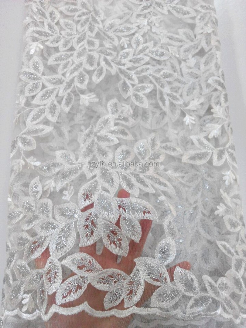 Latest white african material sequins french net lace / fashion trending african women party french lace for Nigerian
