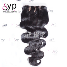 3 Part Silk Base 5x5 Top Lace Closure Pieces 8 inch Peruvian Hair