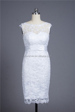 MN-W377 Cap Sleeves Skinny Lady Lace Knee Length Short Wedding Dress