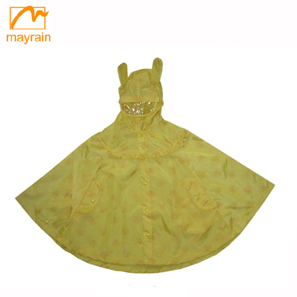 Cute Style Polyester Polka Dots Hooded Kids Rain Poncho Waterproof Breathable Hand Knit Poncho