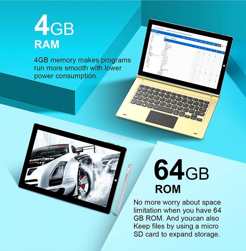 2 in 1 Laptop 10.1 inch 4GB+64GB Dual OS Win10 IPS 1920X1200 Rotary Keyboard Reliable Teclast Laptop Tbook 10s