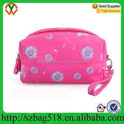 Cute clutch cosmetic bag / women's pu leather toiletry bag