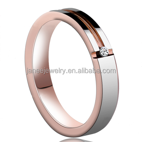 4mm Fashion Jewelry Rose Gold Womens Tungsten Diamond Engagement Rings Comfort Fit Bright Polished