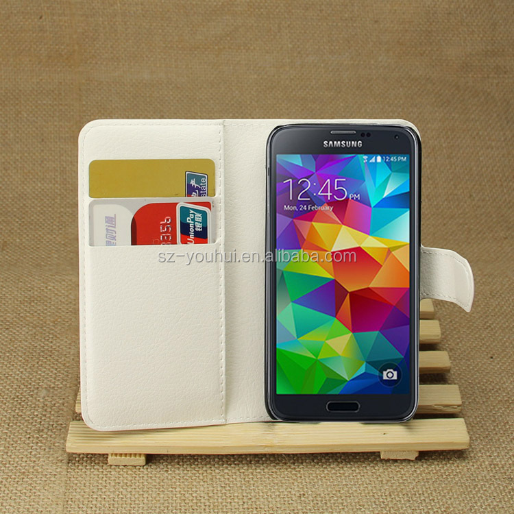 Hot Selling Ultra Thin Lichee PU Leather Case Wallet Folio Flip Cover for Samsung Galaxy S5 mini