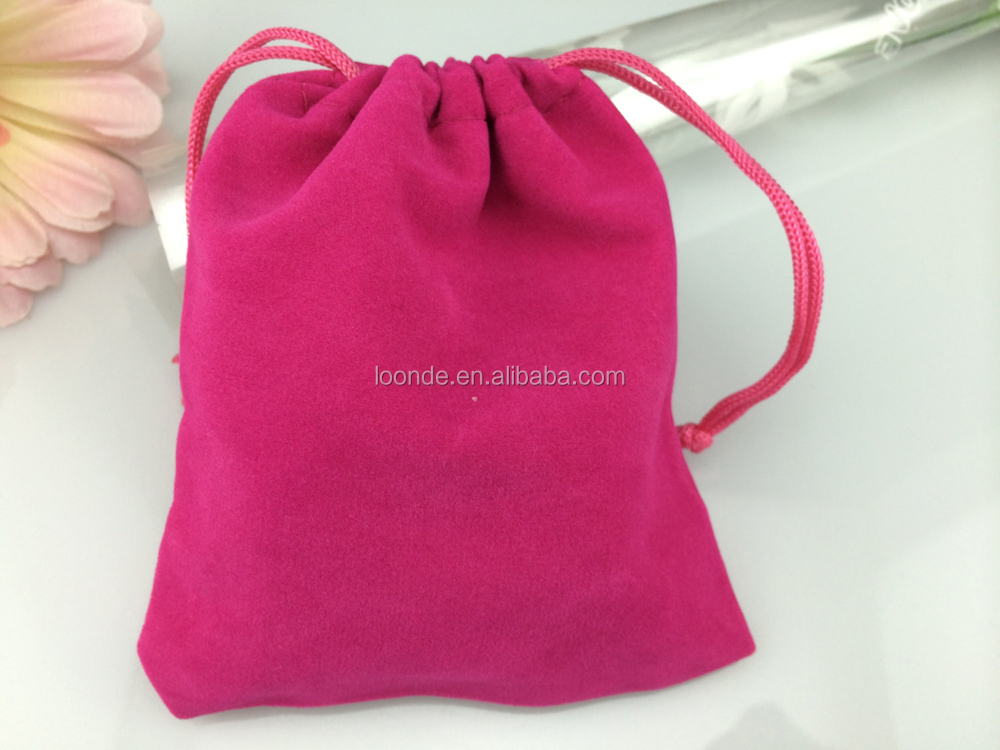Custom hot pink velvet felt drawstring bag for candy