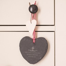 Factory Direct Price Handmade Personalised 10*9*0.5cm Heart Shape Natural Edge Hanging Black Slate Hearts