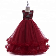 Children wears red embroidered grenadine bulk wholesale <strong>girl's</strong> <strong>dress</strong>
