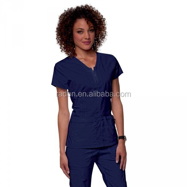 Women's Signature Two Pocket Notch Yoke Neck navy Scrub Top