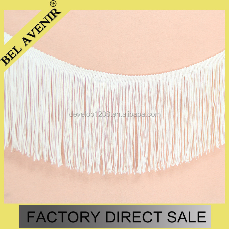 15cm width New design nylon customizable colorful fringe trim wholesale beaded curtain polyester tassel