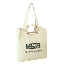 custom high quality plain metal handles shoulder tote handbag dual use shopping unbleached jumbo cotton bag with logo printing