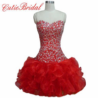 Short Puffy Rufflies Red Party Dresses Beaded Bodice Crystal Cocktail Dress