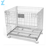 Heavy Duty Galvanized Collapsible Metal Welded Storage Cage / Wire Mesh Container