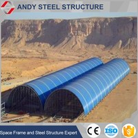 Galvanized steel space frame coal storage warehouse