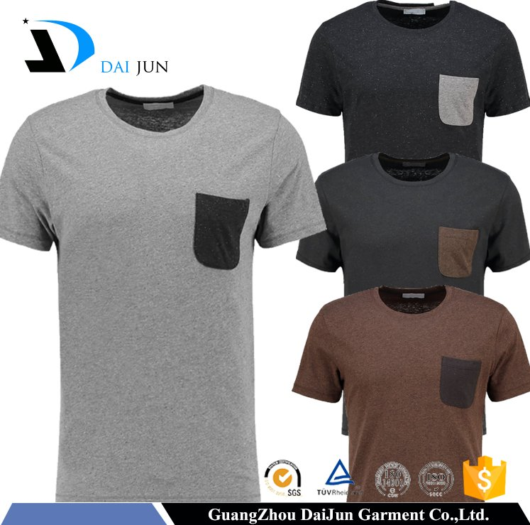 Daijun OEM Design Your Logo 200g Soft 100% Cotton Round Neck Pocket Slim Fit Men Custom t shirt