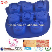 8 Faces Hello Kitty Drak Blue Durable Silicone Cup Cake Mould Own Mold Factory