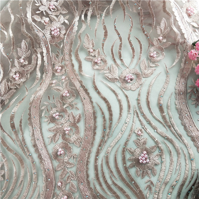 New pink color polyester embroidered beaded lace fashion african lace dress fabric for party on sale